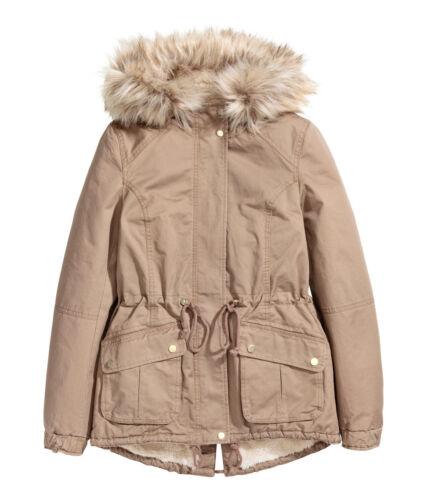 H/&M Winterjacke beige NEU Parka mit Teddyfutter Gr.32-44  2 Farben  khaki