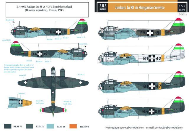 SBS Models Decals 1//72 JUNKERS Ju-88A-4 FINNISH AIR FORCE