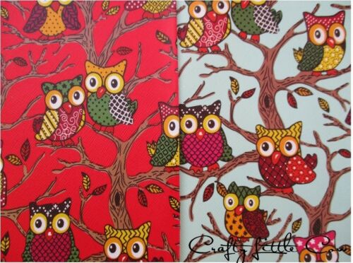 OWL FAUX LEATHER SIZE A4  BOWS//CRAFTS  RED  BLUE