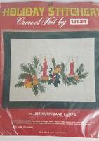 Rare Holiday Stitchery Crewel Kit By Titan hurricane Lamps 258 14x18