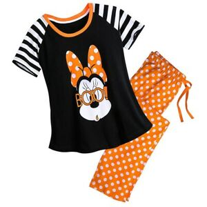 Disney Store Women Halloween 2pc PJ Set Short Sleeve Orange Black Minnie Mouse