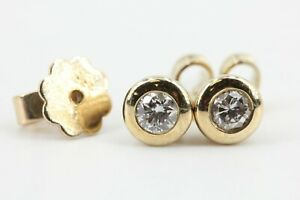 Diamant-Gold-Ohrstecker-585-14K-Gelbgold-2-Brillanten-0-20ct-VS2-I-14-7mm