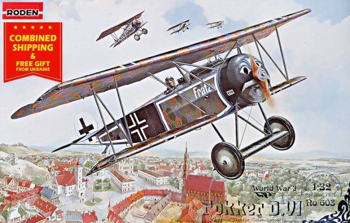 PLASTIC MODEL KIT FOKKER D.VI GERMAN FIGHTER-BIPLANE WWI 1 32 scale RODEN 603
