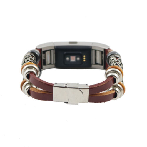 Replacement Leather Bead Wristband Band Strap Bracelet For Fitbit Charge 2 K