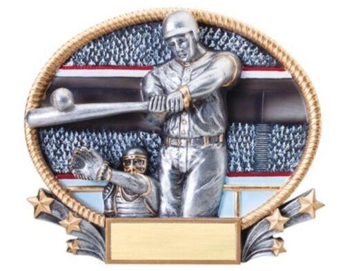 "Baseball mâle Full Color Résine Ovale Trophy Award 7/"" X 5.5/"" Gravure Gratuite"