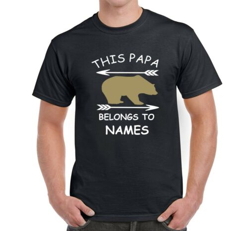 Men/'s Novelty T shirt This Papa Bear Belongs to Personalise With Names