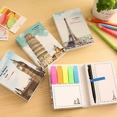 """""""Europe Tour"""" 1pc Sticky Notes Stickers Cute Study Work Adhesive Pad Memo"""