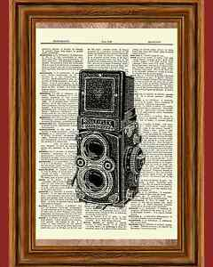 Vintage Camera Antique Rolleiflex Photography Film Dictionary Art Print Book