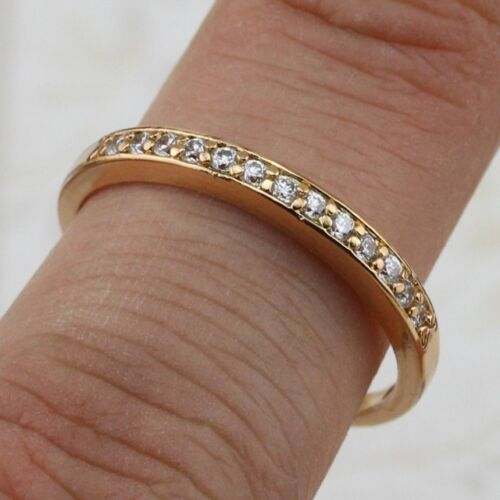 Size 6.5 7.5 8.5 9.5 White CZ Gems Jewelry Yellow Gold Filled Band Ring R2312