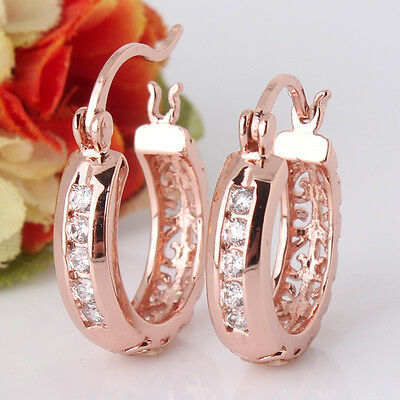 Chic 18k rose gold filled white sapphire crystal Exclusive hoop earring