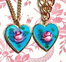 Vintage Sarah Coventry Necklace Set Bracelet Guilloche Demi Enamel Heart #G26