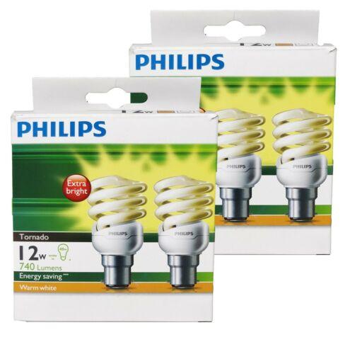 4 x PHILIPS 12W High Output Globes Bulbs Warm White CFL Bayonet BC B22 740Lm
