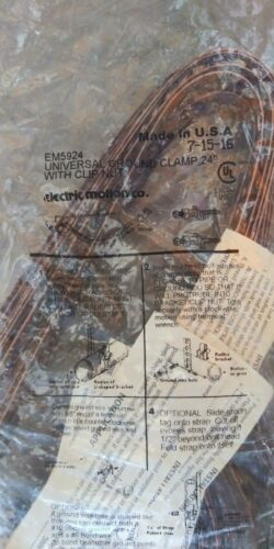 "Electric Motion EM 5924 Universal Ground Clamp w// 24/"" Strap"