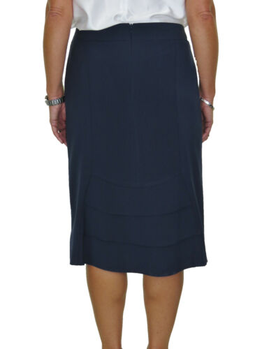 Calf Length Washable Lined Pencil Skirt Back Detail Navy Blue NEW 10-22
