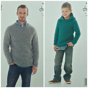 KNITTING-PATTERN-Mens-Boys-Long-Sleeve-Round-Neck-Hooded-Jumper-Chunky-4087