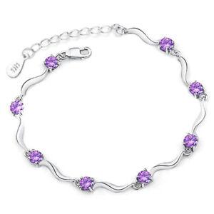 Fashion-925-Sterling-Silver-Rhinestone-Wristband-Chain-Bracelet-Jewelry-Gifts