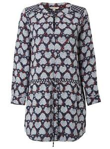 NEW-WHITE-STUFF-UK-SIZE-8-10-12-BLUE-SUQI-HEART-PRINT-TUNIC-TOP