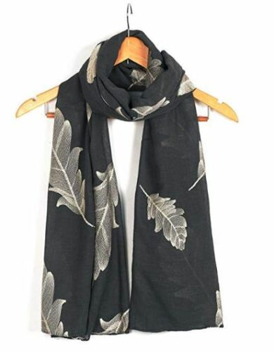 Ladies Women/'s Classy Gold Embroidered Feather Scarf Maxi Wrap Shawl Pashmina