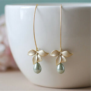 Women-Orchid-Flower-Sage-Green-Pearl-Earring-Hook-Dangle-Ear-Stud-Bridal-Jewelry