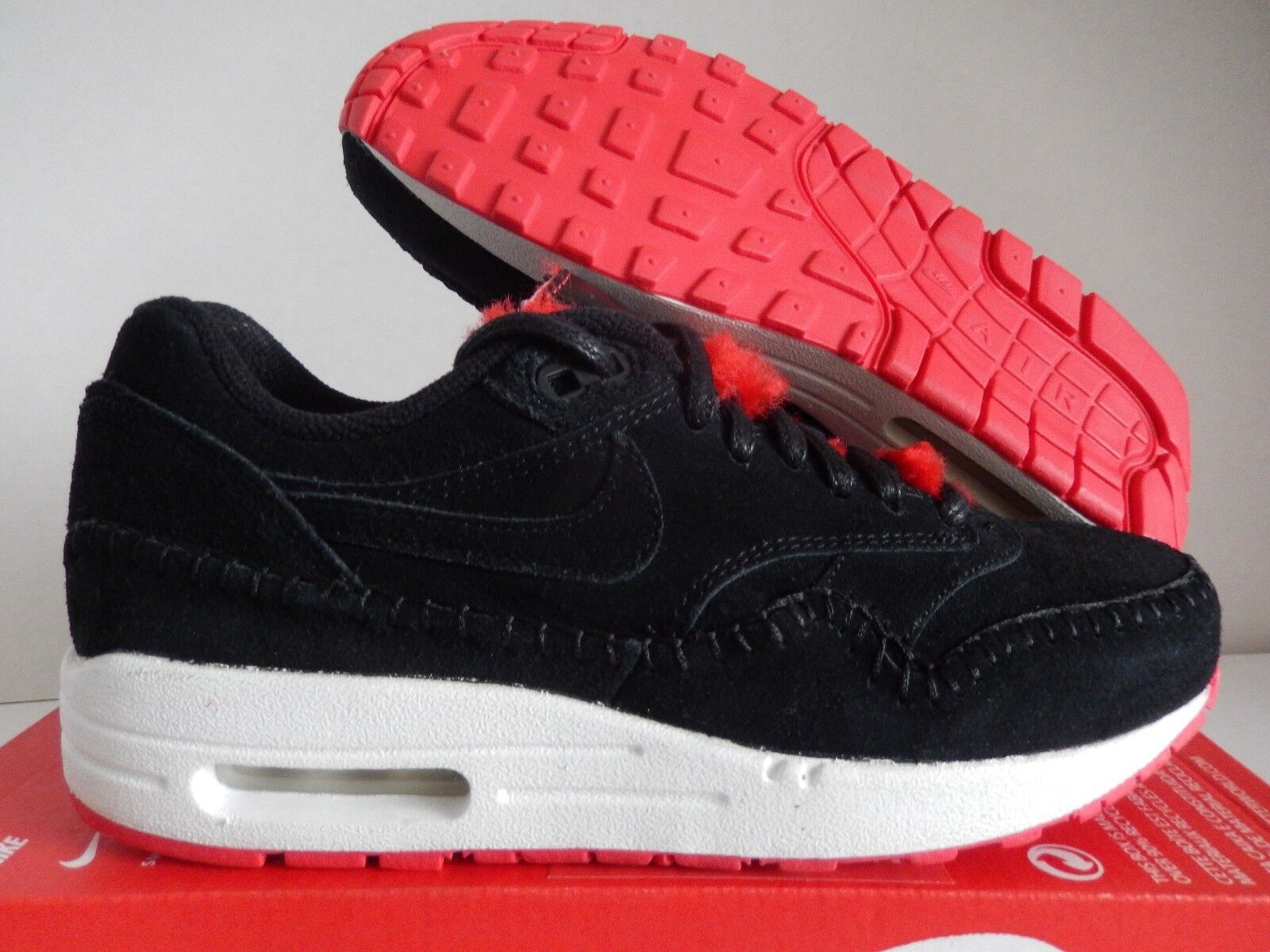 WMNS NIKE AIR MAX 1 PREMIUM BLACK-BLACK-ACTION RED-SUMMIT SZ 6.5 [454746-010]