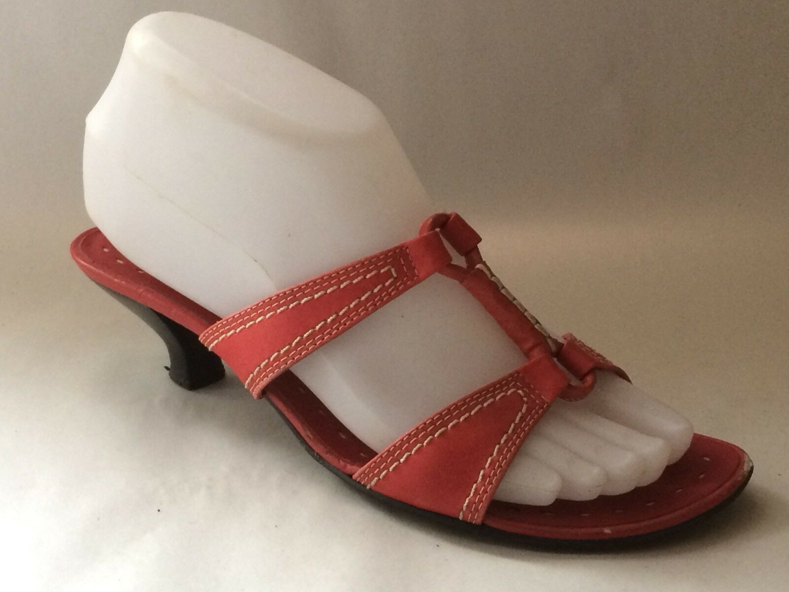 Franco Sarto Womens 6.5 M Red Slides Sandals Kitten Heels shoes Strappy Open Toe
