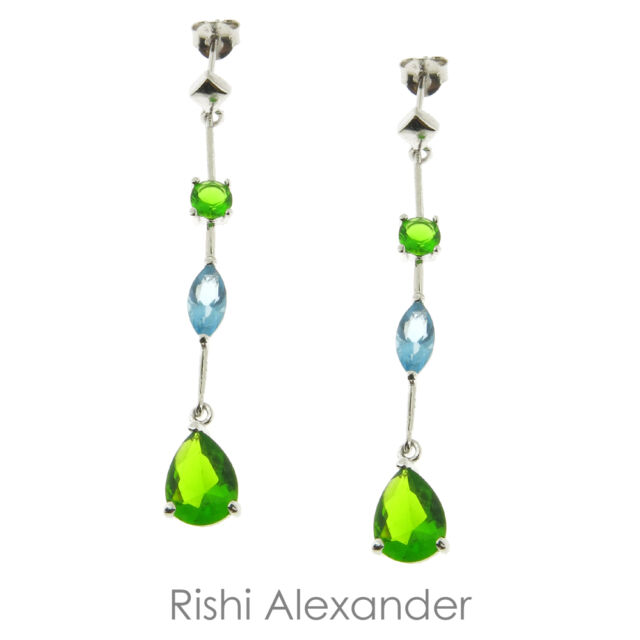 925 Sterling Silver Blue and Green Dangle CZ Earrings