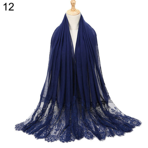 BU/_ Stylish Women Lace Flower Muslim Hijab Shawl Long Scarf Scarves Stole Wrap S