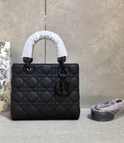 Quilted Matt Black or Beige Top Handle Leather Crossbody Bag