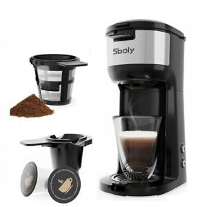 Single Serve Coffee Maker Compatible with K Cup Pod and Ground Coffee By Sboly