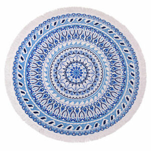 100/% Cotton Round Velour Terry Fringed Beach Towel 150cm Diameter