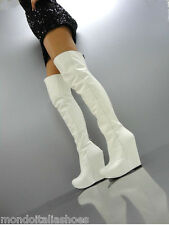 MORI ITALY WEDGES OVERKNEE HEELS BOOTS STIEFEL STIVALI LEATHER WHITE BIANCO 41