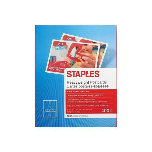 """Staples Inkjet Postcards 5 1//2/"""" x 4 1//4/"""" Matte 400//Pack 610389"""