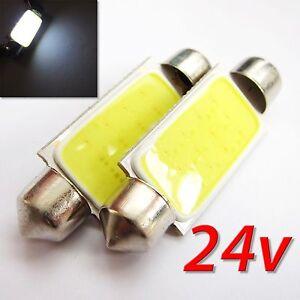 UK-x2-24-V-C5W-35-36-38-41-mm-Coche-Interior-Festoon-Bombilla-LED-COB-numero-de-placa-Placa