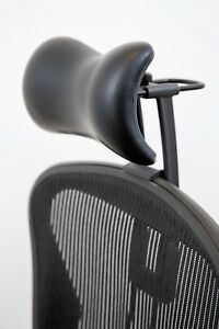 best service bcb8e 74174 Details about Atlas Headrest for Herman Miller Aeron Chair - Synthetic  Leather and Knobs