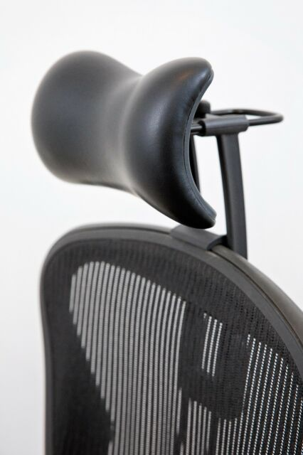Atlas Headrest For Herman Miller Aeron Chair   Synthetic Leather And Knobs