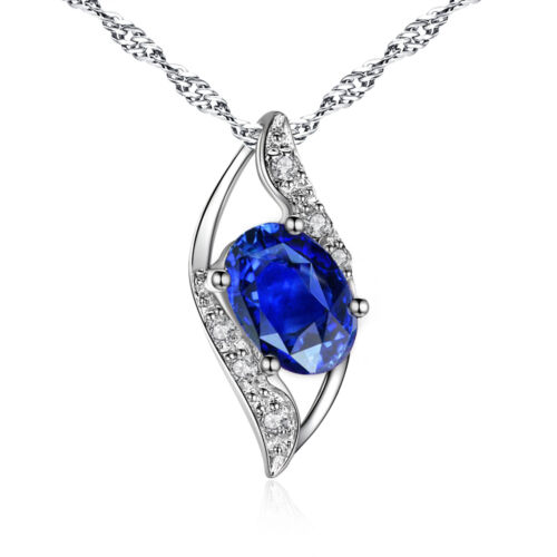 Women 925 Sterling Silver Lab Oval Blue Sapphire Necklace Gemstone Leaf Pendant