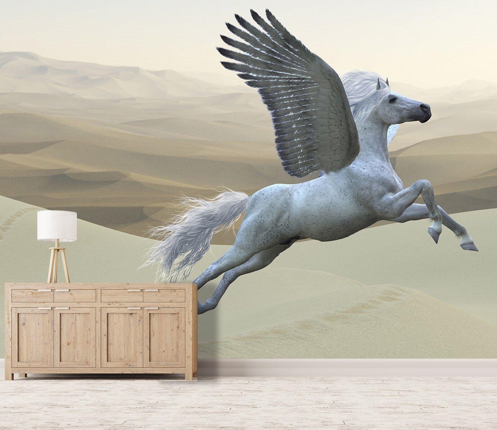 3D Wüste Laufendes Pferd 33 Tapete Wandgemälde Tapete Tapeten Familie Kinde DE
