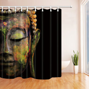 Image Is Loading Stone Buddha Face On Black Waterproof Fabric Bathroom