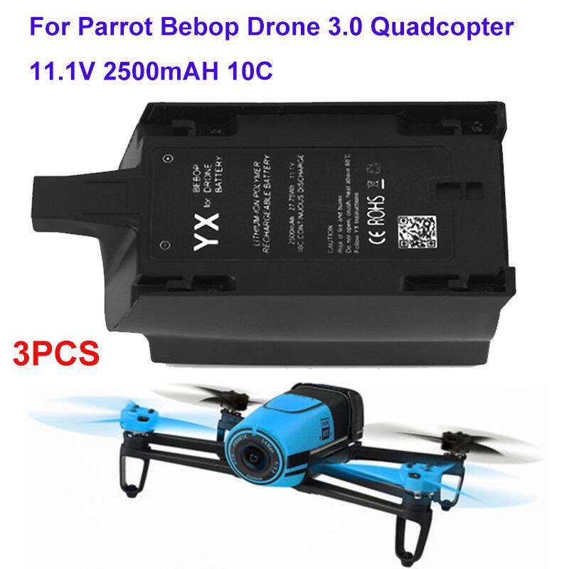 3X per Parrot Bebop Drone 3.0 Quadcopter 11.1V 10C 2500mAh Li-Po Batteria UPGRADE