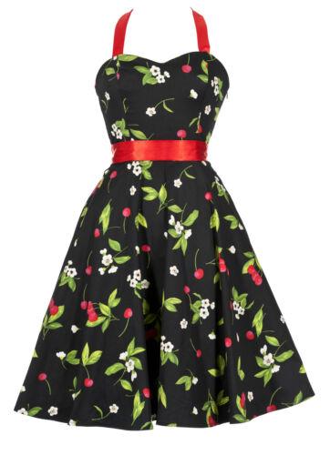 Rockabilly Vintage Stile Pin-Up Prom Party Dress Black Cherry nuove dimensioni 8 al 18