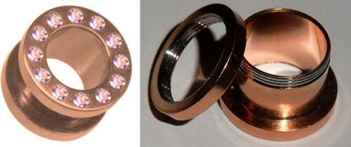 Rosegold túnel bollos atornilla cristal brillo Plug piercing oreja de acero inoxidable Tube