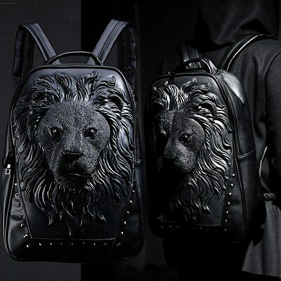 BytheR Black Unique Graphic Animal Lion Embossing Faux Leather Backpack Soft Bag