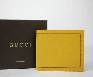 e75290ed333 New Gucci Hillary Lux Yellow Diamante Leather Bifold Wallet 225826 ...