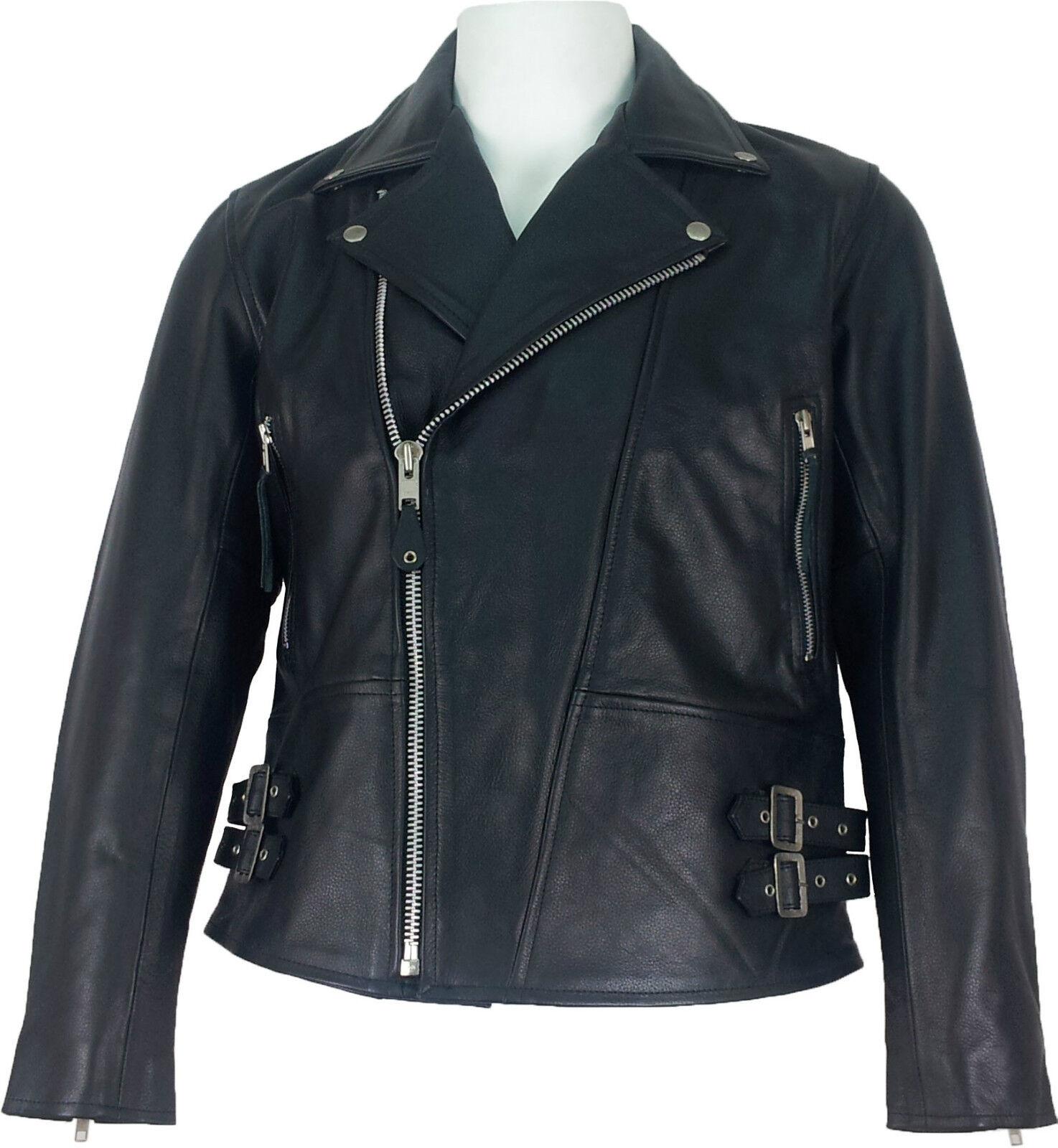 UNICORN men real cuero chaqueta Estilo clásico motorista black  C5