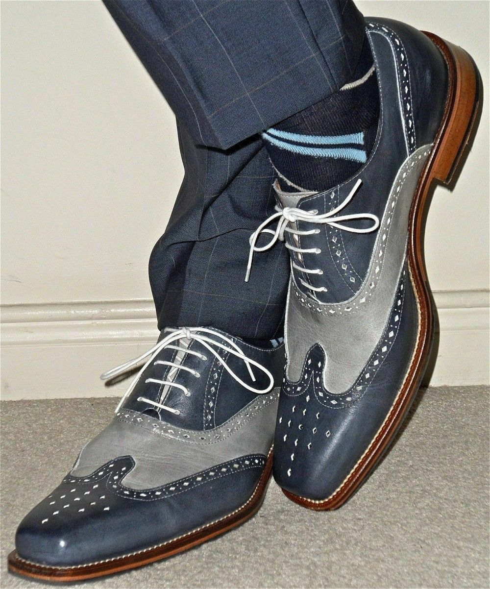 Mens Handmade scarpe grigio Leather Wing Tip Brogue Formal Dress Casual Wear stivali