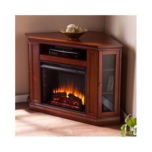 fireplace media console electric entertainment center corner mantel tv stand new ebay. Black Bedroom Furniture Sets. Home Design Ideas