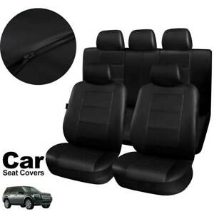 11PCS-Leather-Universal-Car-Seat-Covers-Full-Seat-Set-Front-Rear-Headrest-Cover