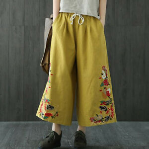 Womens-Loose-Embroidery-Floral-Linen-Blend-Ethnic-Wide-Pants-Retro-Trousers