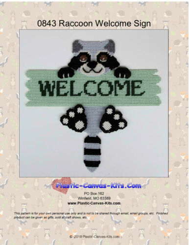 Plastic Canvas Pattern or Kit Raccoon  Welcome Sign