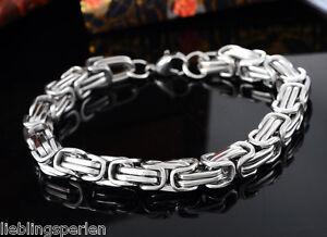 1-Antik-Silber-Massiv-Edelstahl-Herren-Mode-Armkette-Armband-Koenigskette-22cm-LP